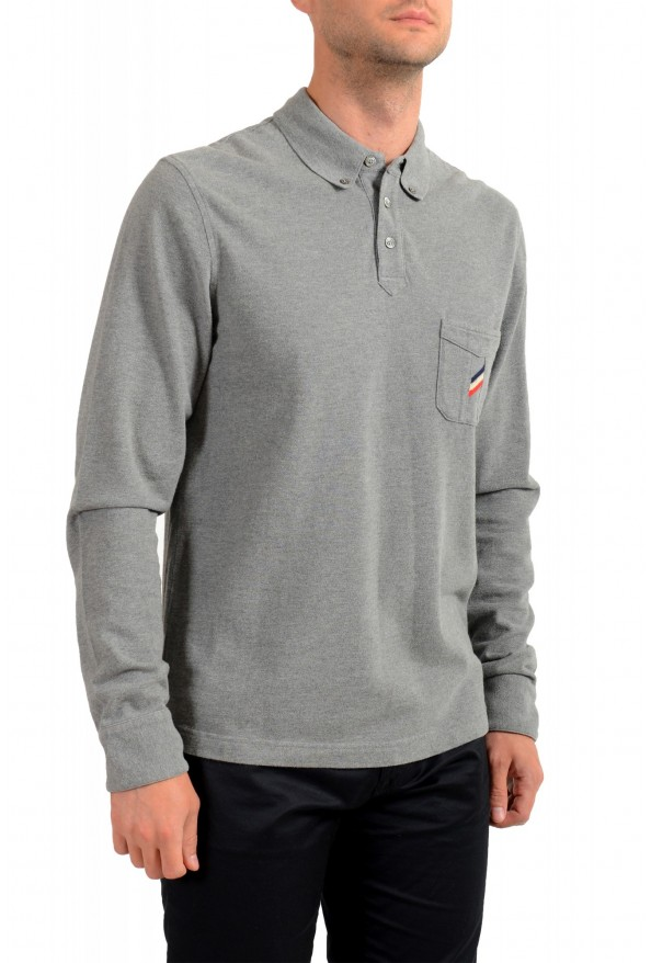 Moncler Men's Slim Fit Gray Long Sleeve Polo Shirt: Picture 2