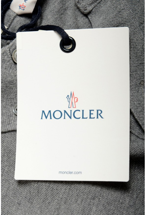 Moncler Men's Slim Fit Gray Long Sleeve Polo Shirt: Picture 6