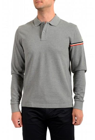 Moncler Men's Gray Long Sleeve Polo Shirt