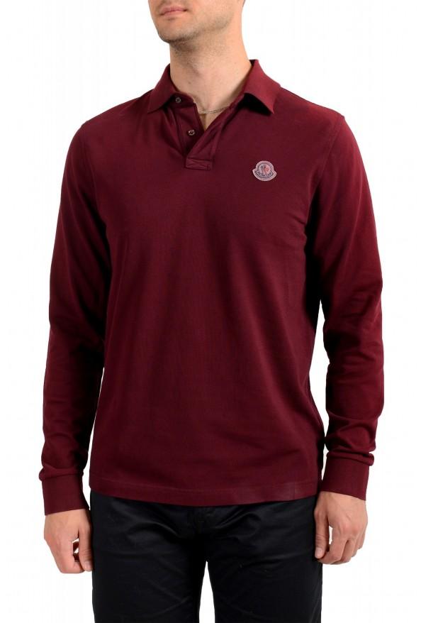 Moncler Men's Slim Fit Burgundy Long Sleeve Polo Shirt