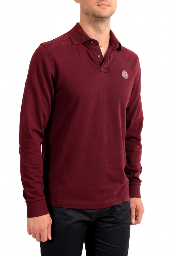 Moncler Men's Slim Fit Burgundy Long Sleeve Polo Shirt : Picture 2