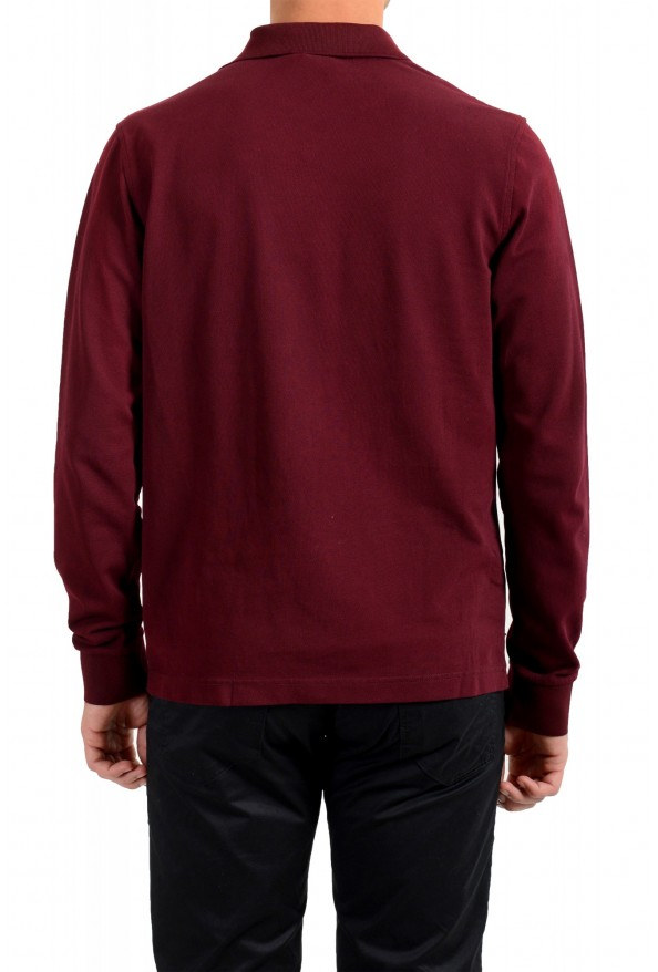 Moncler Men's Slim Fit Burgundy Long Sleeve Polo Shirt : Picture 3