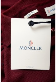 Moncler Men's Slim Fit Burgundy Long Sleeve Polo Shirt : Picture 6