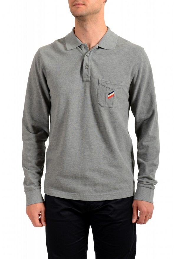 Moncler Men's Gray Slim Fit Long Sleeve Polo Shirt