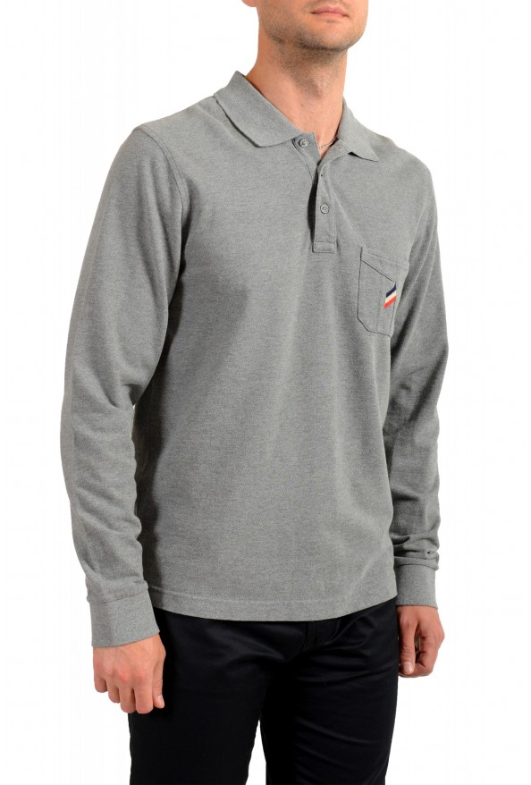 Moncler Men's Gray Slim Fit Long Sleeve Polo Shirt: Picture 2