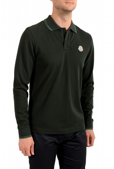 Moncler Men's Forest Green Slim Fit Long Sleeve Polo Shirt: Picture 2