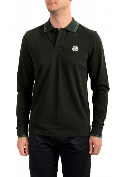 Moncler Men's Forest Green Slim Fit Long Sleeve Polo Shirt