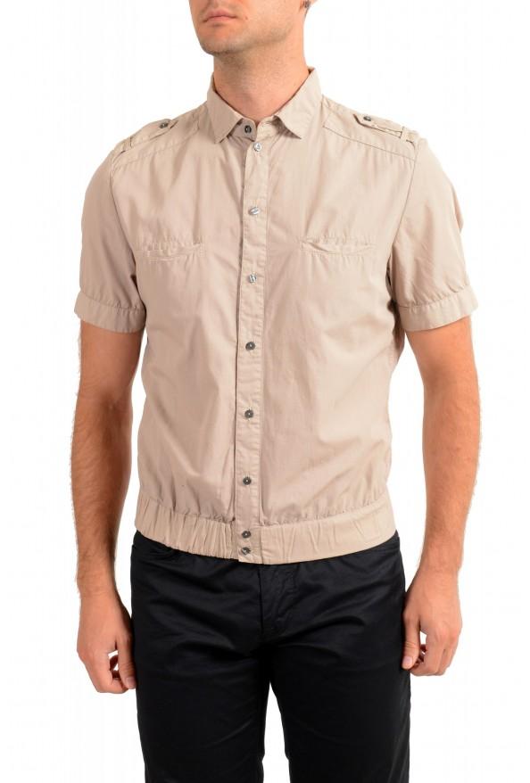 Dolce & Gabbana Men's Beige Button Down Short Sleeve Shirt