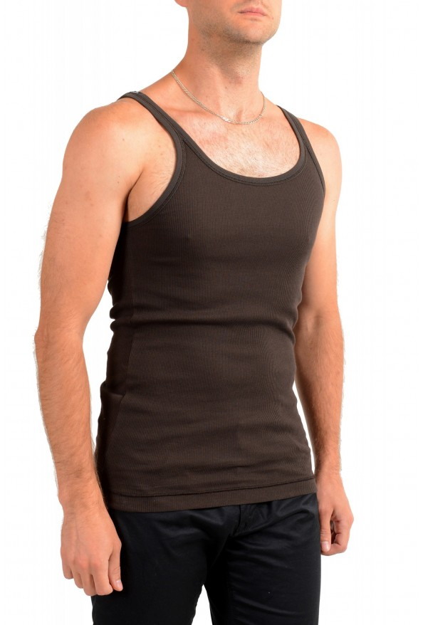 Dolce & Gabbana Men's Brown Ribbed Tank Top: Picture 2