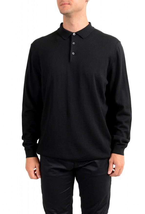 "Hugo Boss ""Bono_GSU"" Men's 100% Wool Black Polo Style Sweater"
