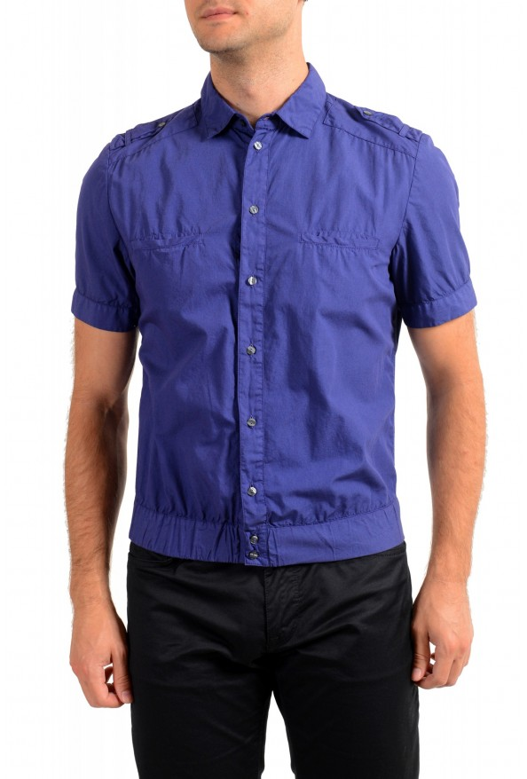 Dolce & Gabbana Men's Purple Button Down Short Sleeve Shirt