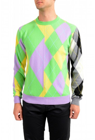 Versace Men's Multi-Color 100% Cashmere Crewneck Sweater