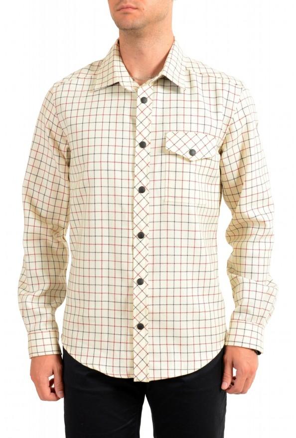 Moncler Men's Plaid 100% Wool Long Sleeve Casual Shirt