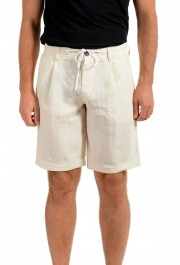 "Hugo Boss Men's ""Symon-Shorts"" Beige Casual 100% Linen Shorts"