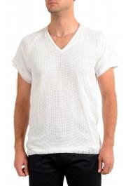 Dolce & Gabbana Men's White Fishnet V-Neck T-Shirt