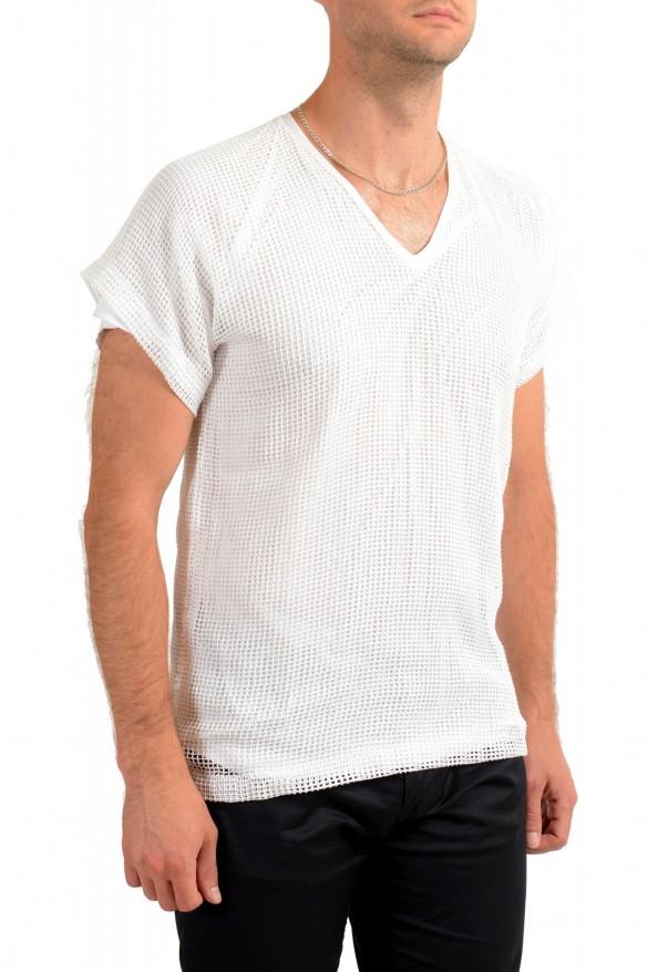 Dolce & Gabbana Men's White Fishnet V-Neck T-Shirt: Picture 2