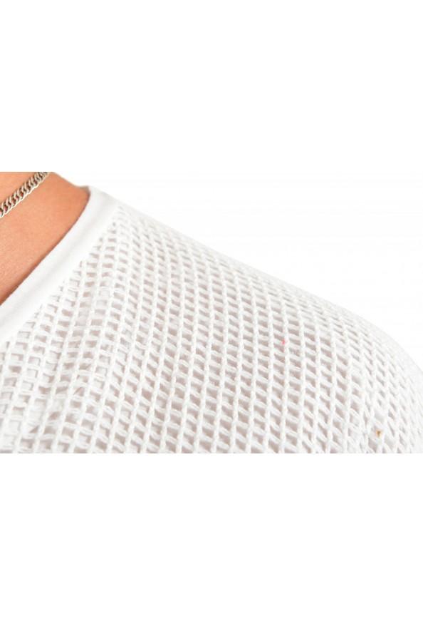 Dolce & Gabbana Men's White Fishnet V-Neck T-Shirt: Picture 4