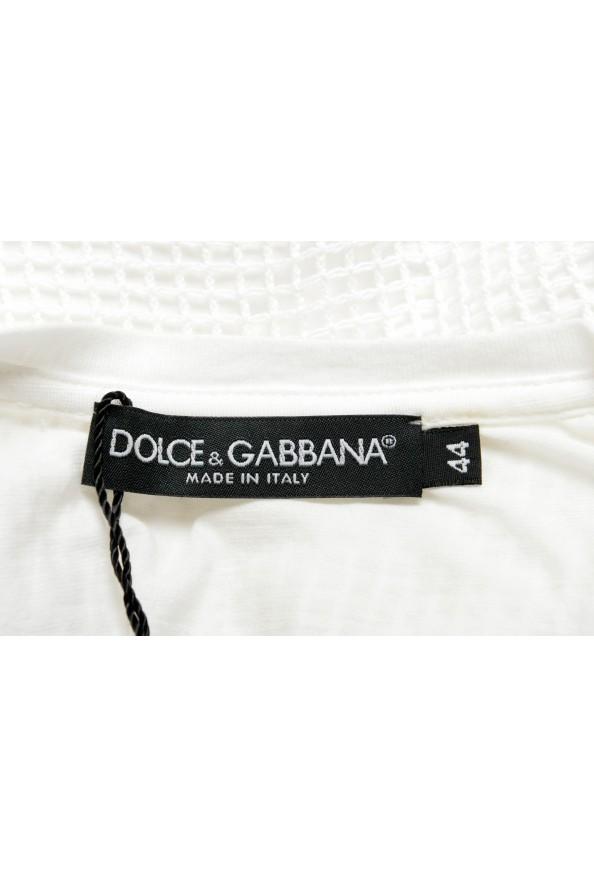 Dolce & Gabbana Men's White Fishnet V-Neck T-Shirt: Picture 5
