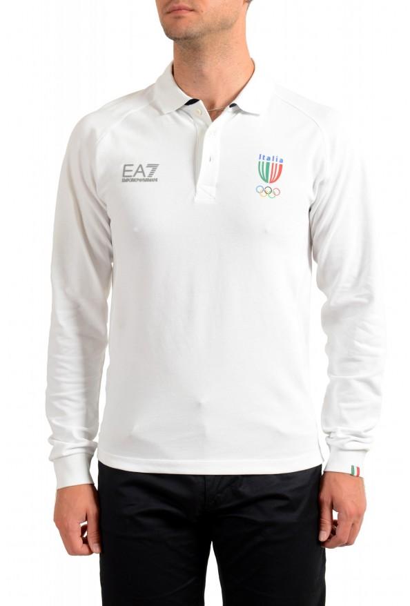 "Emporio Armani EA7 ""Italia Team"" Men's White Long Sleeve Polo Shirt"