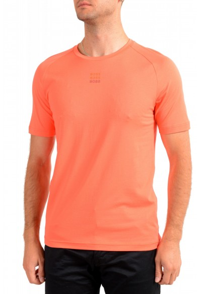"Hugo Boss Men's ""Thilix"" Slim Fit Orange Logo Print Crewneck T-Shirt"