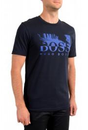 "Hugo Boss Men's ""Teally"" Black Logo Print Crewneck T-Shirt: Picture 2"