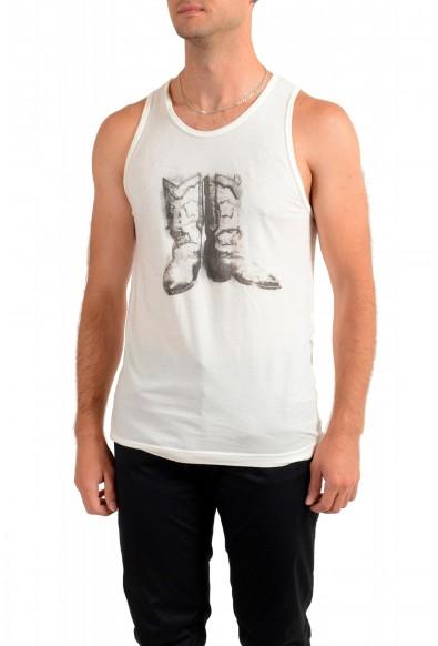 Dolce & Gabbana D&G Men's Graphic Print Beige Tank Top