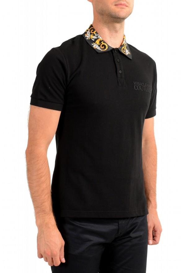 Versace Jeans Couture Men's Black Slim Baroque Print Short Sleeve Polo Shirt: Picture 2