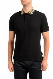 Versace Jeans Couture Men's Black Slim Baroque Print Short Sleeve Polo Shirt