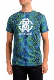 Roberto Cavalli Men's Logo Print Multi-Color Short Sleeve T-Shirt