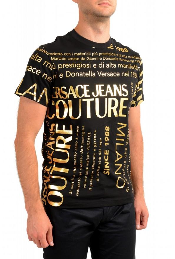 Versace Jeans Couture Men's Black & Gold Logo Print Short Sleeve T-Shirt: Picture 2