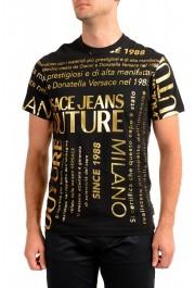 Versace Jeans Couture Men's Black & Gold Logo Print Short Sleeve T-Shirt
