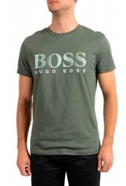 "Hugo Boss Men's ""T-Shirt RN"" Green Logo Print Crewneck T-Shirt"