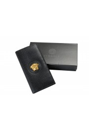 Versace Women's Black Textured Leather Medusa Logo Wallet