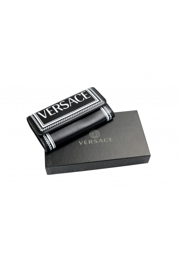 Versace Women's Black Logo Print Leather Wallet