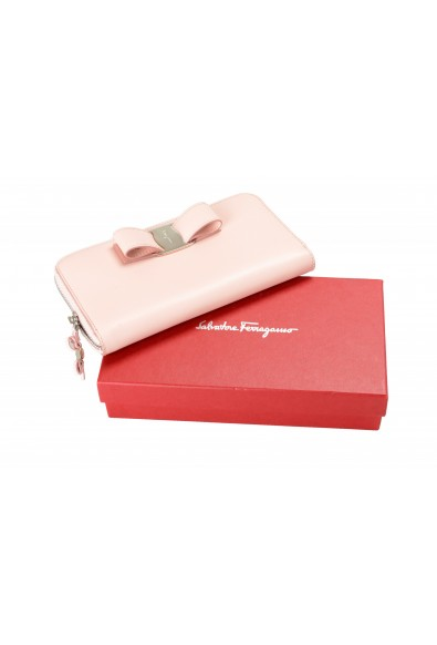 Salvatore Ferragamo Women's Pink 100% Leather Zip Around Wallet