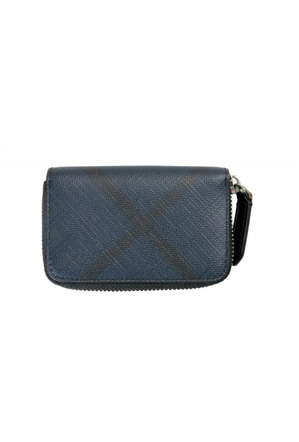 Burberry Men's Black & Blue Textured Leather Zip Around Wallet: Picture 4