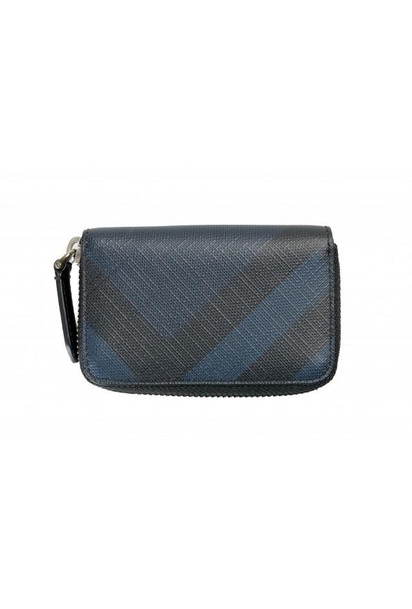 Burberry Men's Black & Blue Textured Leather Zip Around Wallet
