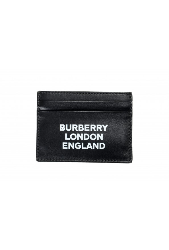 Burberry Unisex Black Leather Logo Print Credit Card Case