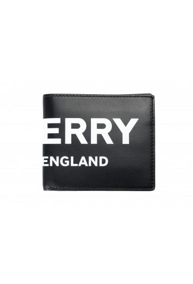 Burberry Men's Black Logo Print Leather Bifold Wallet