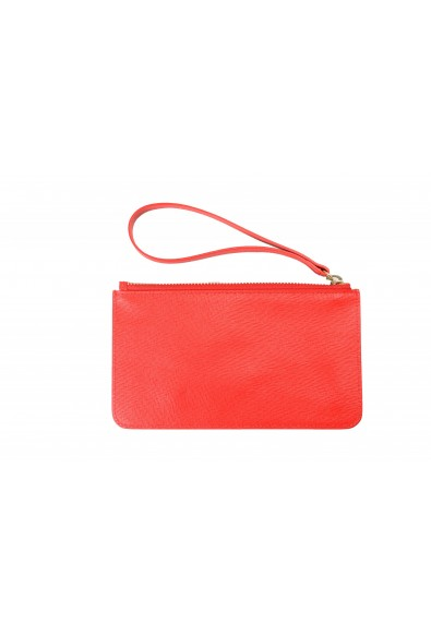 Versace Women's Red Textured Leather Gold Medusa Wristlet Clutch Handbag Bag: Picture 2