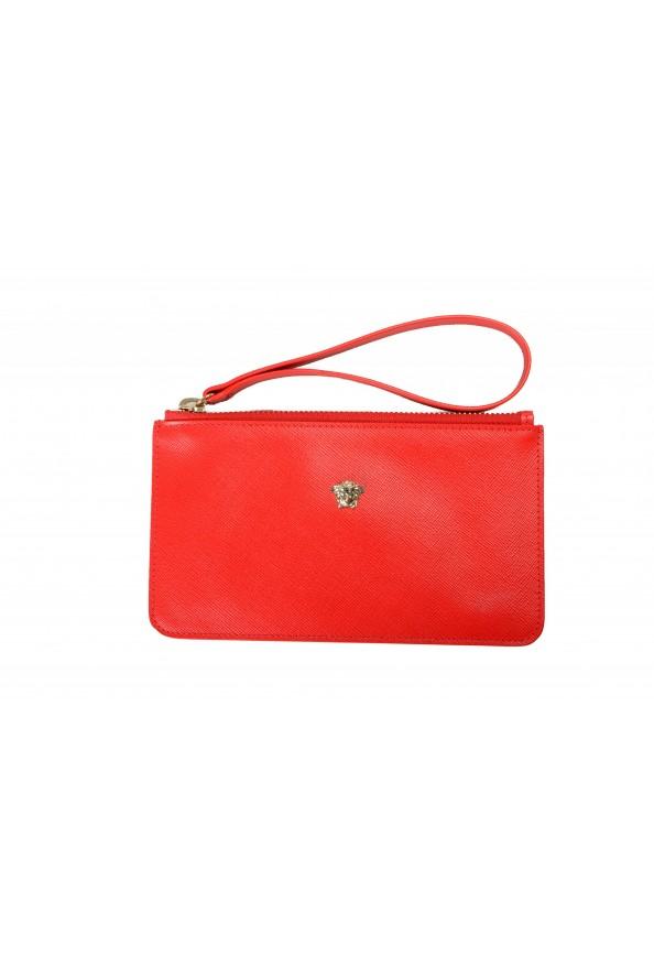 Versace Women's Red Textured Leather Gold Medusa Wristlet Clutch Handbag Bag