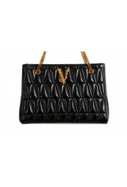 Versace Women's Virtus Black Leather Quilted Small Tote Bag: Picture 2
