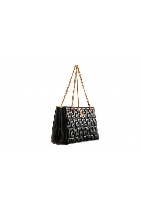Versace Women's Virtus Black Leather Quilted Small Tote Bag: Picture 3