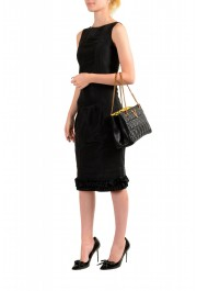 Versace Women's Virtus Black Leather Quilted Small Tote Bag: Picture 7