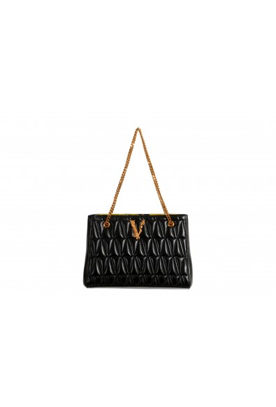 Versace Women's Virtus Black Leather Quilted Small Tote Bag