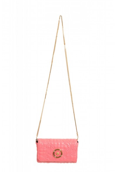 Versace Women's Pink Leather Quilted Small Crossbody Bag
