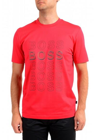 "Hugo Boss Men's ""Tiburt 204"" Red Graphic Print Crewneck T-Shirt"