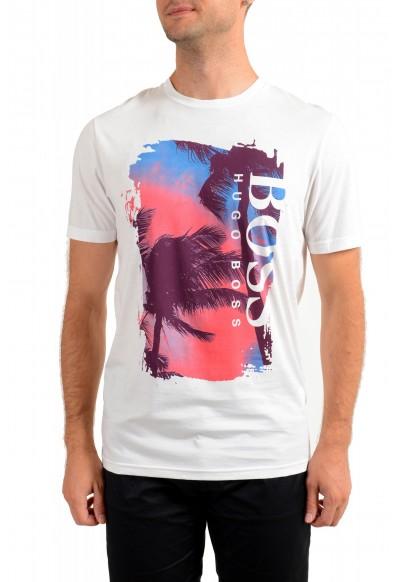 "Hugo Boss Men's ""Tsummery"" White Graphic Print Crewneck T-Shirt"