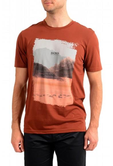 "Hugo Boss Men's ""Tsummery"" Brown Graphic Print Crewneck T-Shirt"