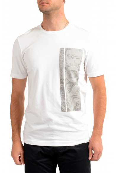 "Hugo Boss Men's ""Tee 10"" White Graphic Print Crewneck T-Shirt"